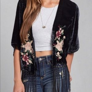 Abercrombie and Fitch Velvet Floral Shawl
